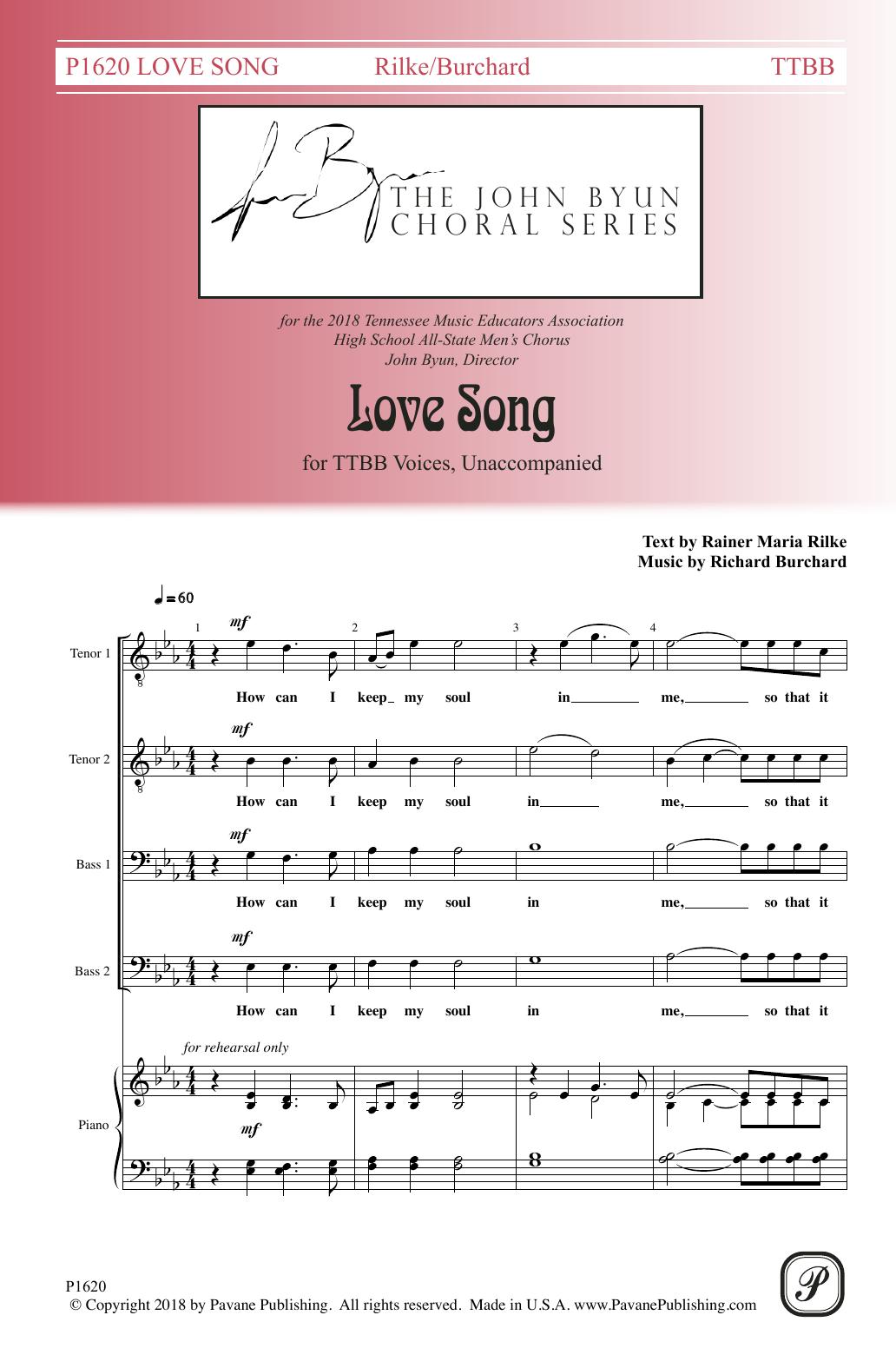 Rainer Maria Rilke Love Song sheet music notes and chords. Download Printable PDF.