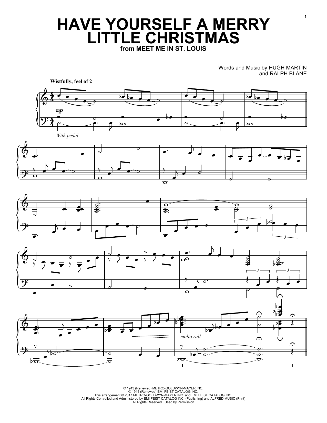 Ralph Blane Have Yourself A Merry Little Christmas [Jazz version] sheet music notes and chords. Download Printable PDF.