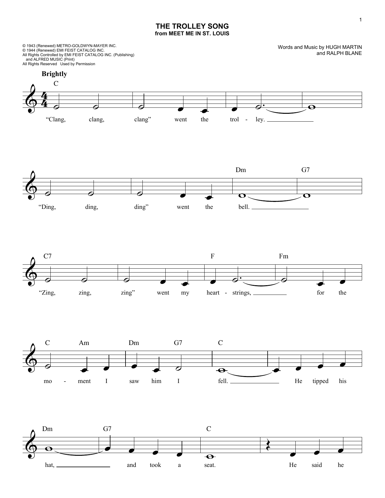 Ralph Blane The Trolley Song sheet music notes and chords. Download Printable PDF.