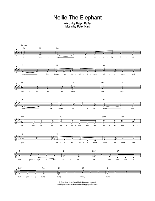 Ralph Butler Nellie The Elephant sheet music notes and chords. Download Printable PDF.