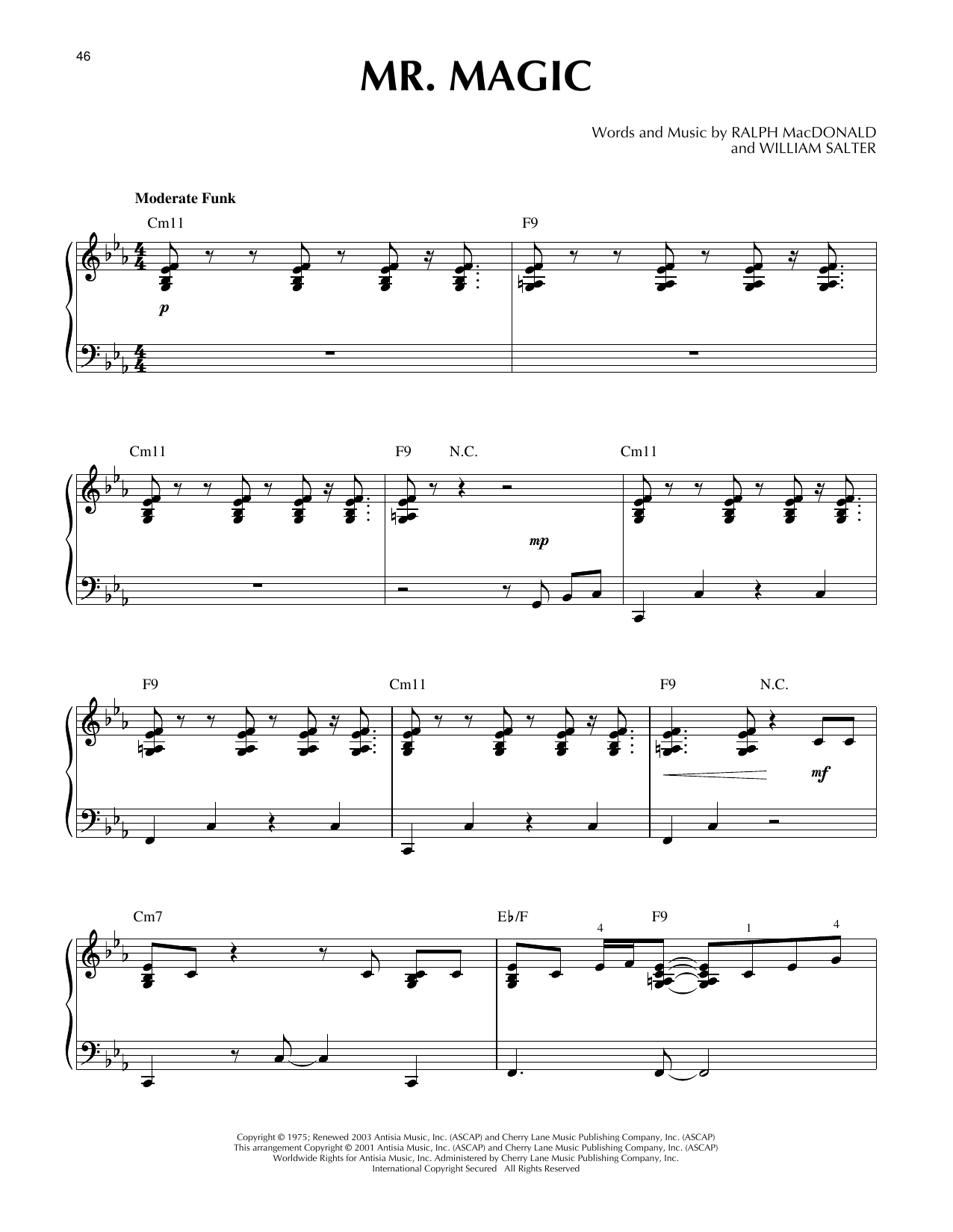 Ralph MacDonald Mr. Magic (arr. Larry Moore) sheet music notes and chords. Download Printable PDF.