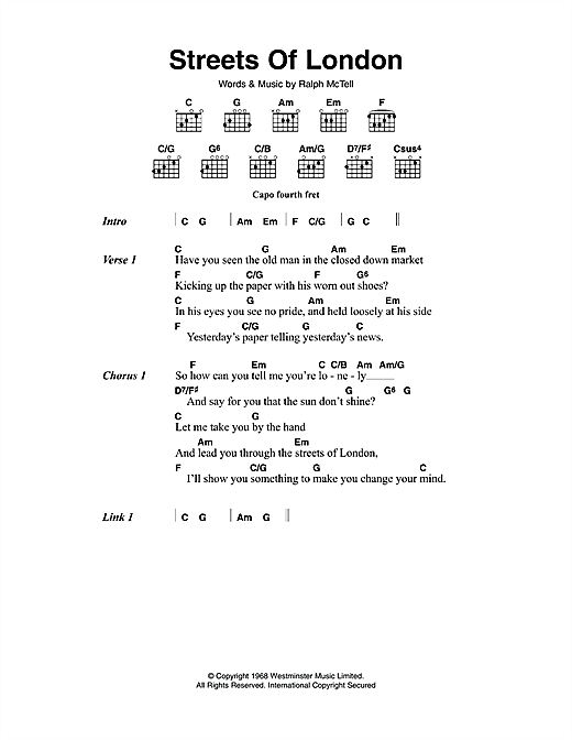 Ralph McTell Streets Of London sheet music notes and chords
