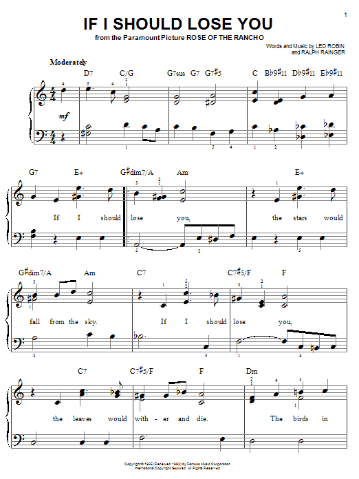 Ralph Rainger If I Should Lose You sheet music notes and chords. Download Printable PDF.