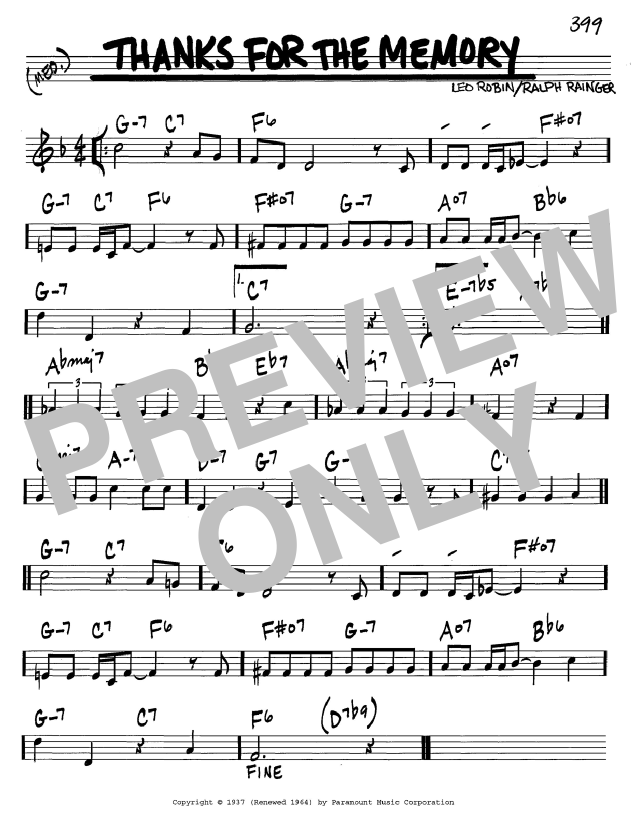 Ralph Rainger Thanks For The Memory sheet music notes and chords. Download Printable PDF.