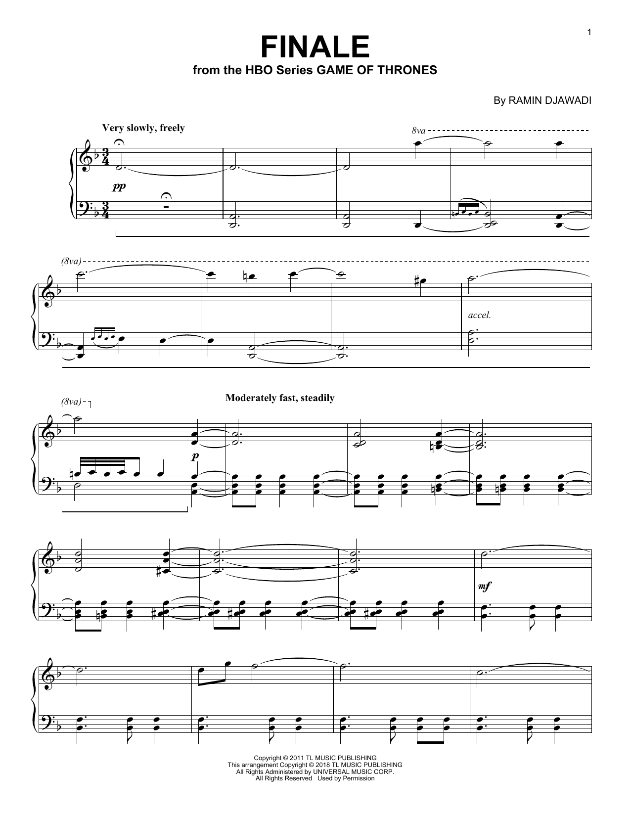 Ramin Djawadi Finale (from Game of Thrones) sheet music notes and chords. Download Printable PDF.