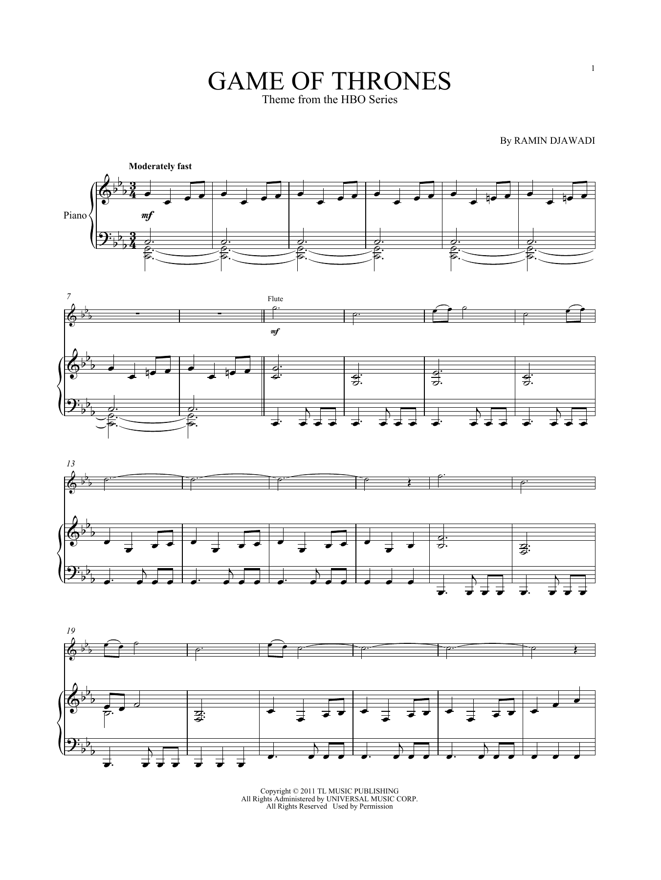 Ramin Djawadi Game Of Thrones sheet music notes and chords. Download Printable PDF.