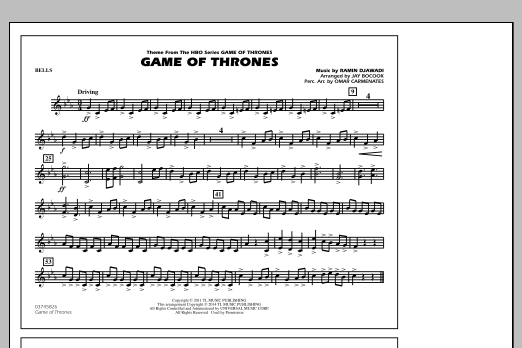 Ramin Djawadi Game of Thrones (arr. Jay Bocook) - Bells sheet music notes and chords. Download Printable PDF.
