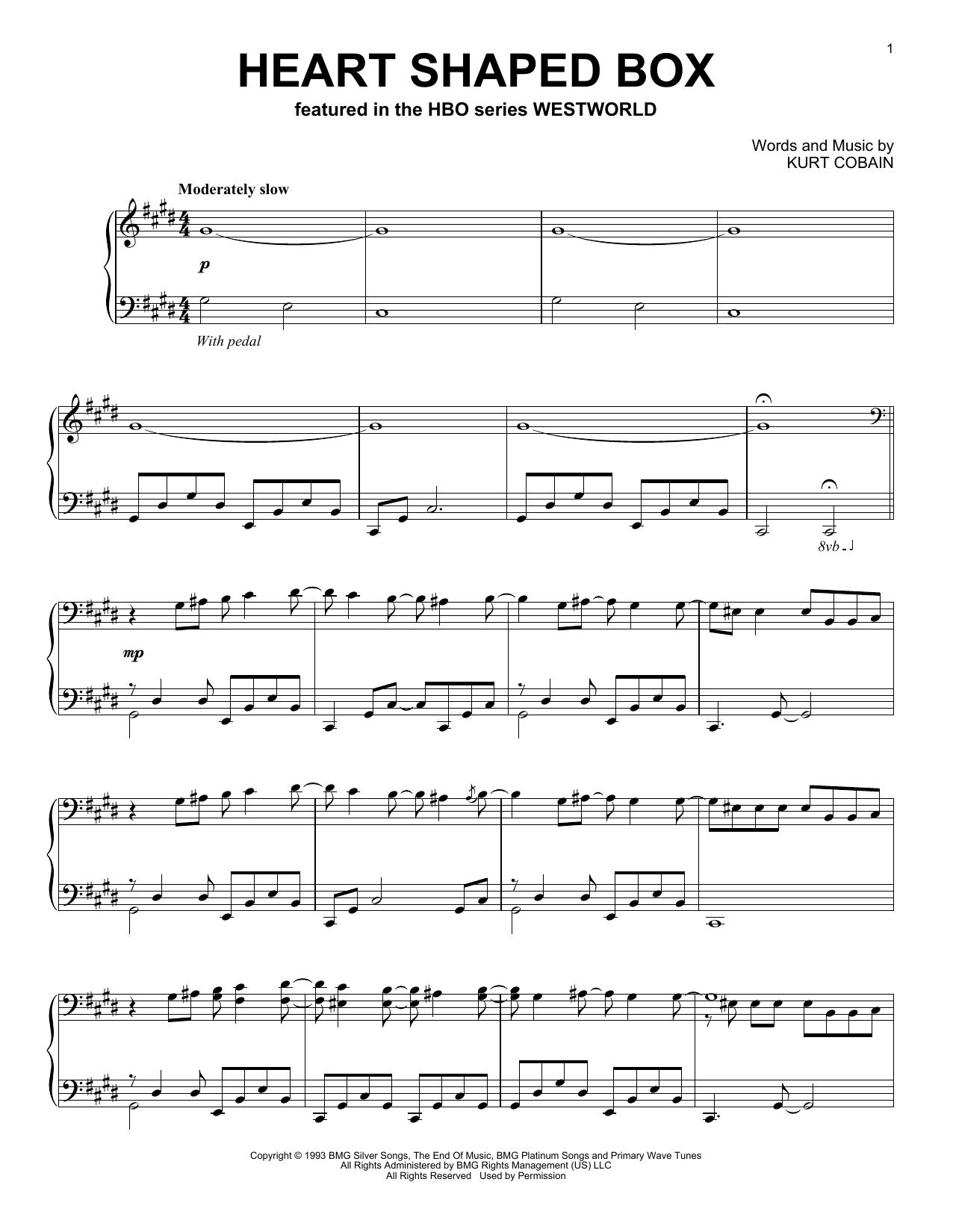 Ramin Djawadi Heart Shaped Box (from Westworld) sheet music notes and chords