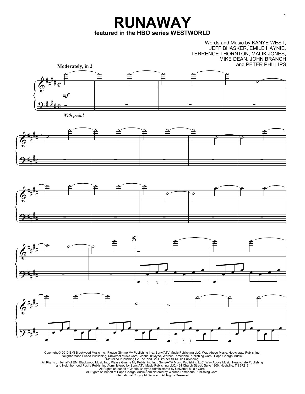 Ramin Djawadi Runaway (from Westworld) sheet music notes and chords. Download Printable PDF.