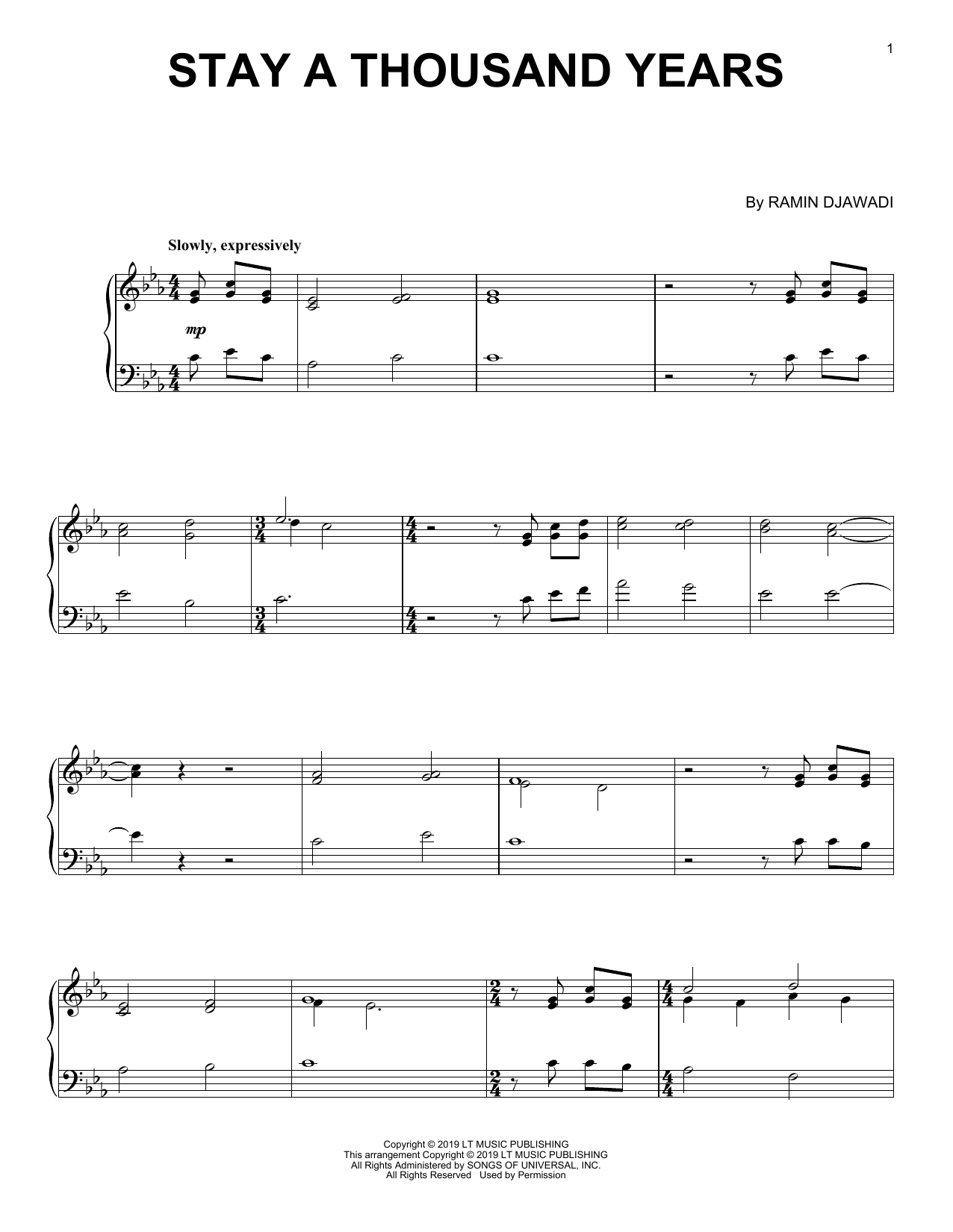 Ramin Djawadi Stay A Thousand Years (from Game of Thrones) sheet music notes and chords. Download Printable PDF.