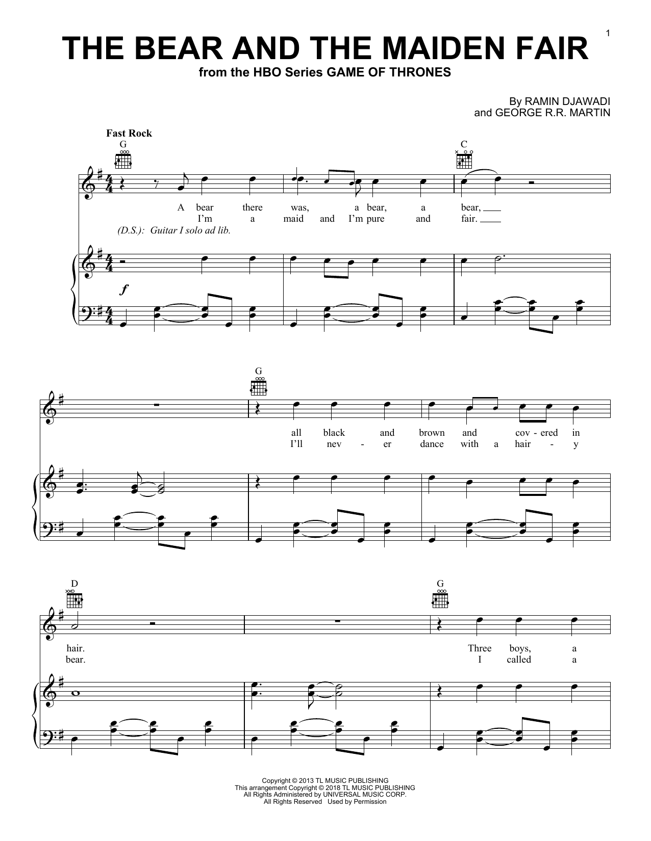 Ramin Djawadi The Bear And The Maiden Fair (from Game of Thrones) sheet music notes and chords. Download Printable PDF.