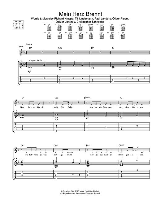 Rammstein Mein Herz Brennt sheet music notes and chords. Download Printable PDF.