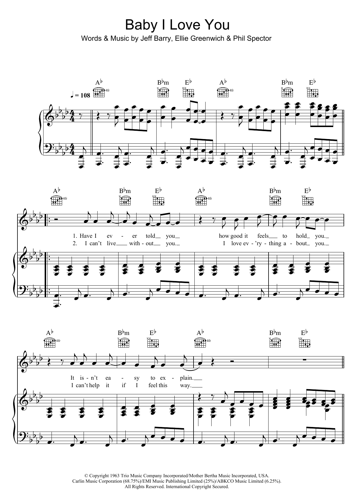 Ramones Baby I Love You sheet music notes and chords. Download Printable PDF.