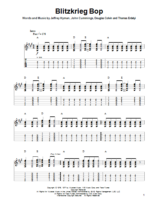Ramones Blitzkrieg Bop sheet music notes and chords. Download Printable PDF.