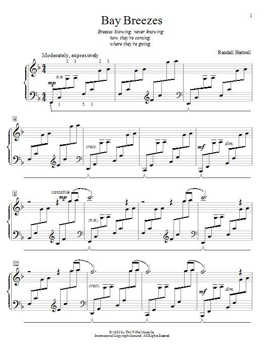 Randall Hartsell Bay Breezes sheet music notes and chords. Download Printable PDF.