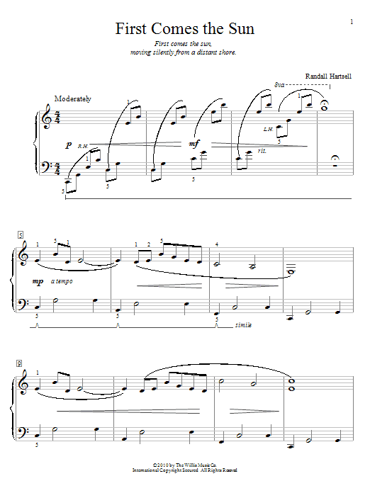 Randall Hartsell First Comes The Sun sheet music notes and chords. Download Printable PDF.