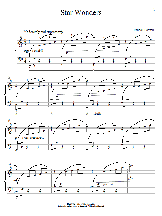 Randall Hartsell Star Wonders sheet music notes and chords. Download Printable PDF.