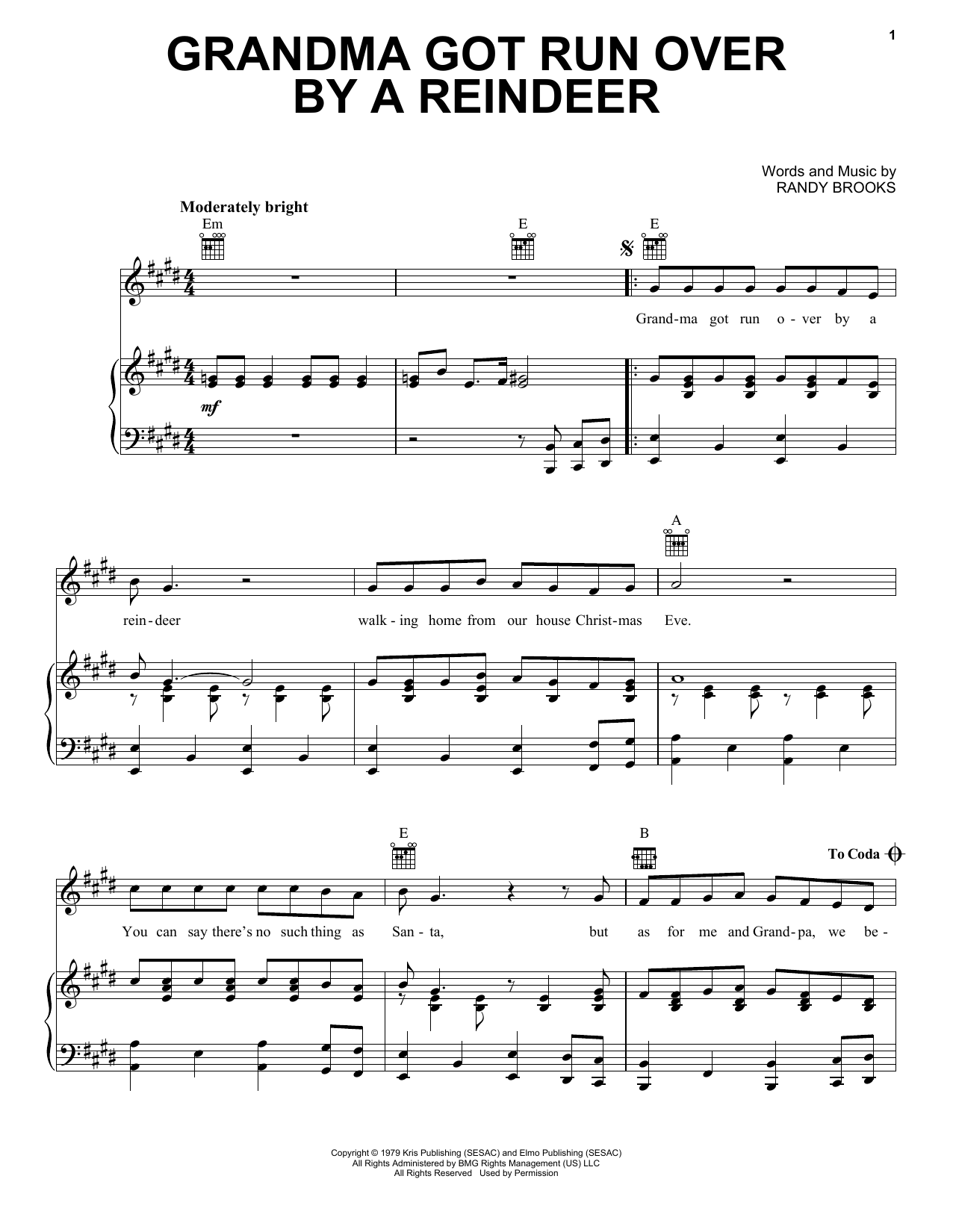 Randy Brooks Grandma Got Run Over By A Reindeer sheet music notes and chords. Download Printable PDF.