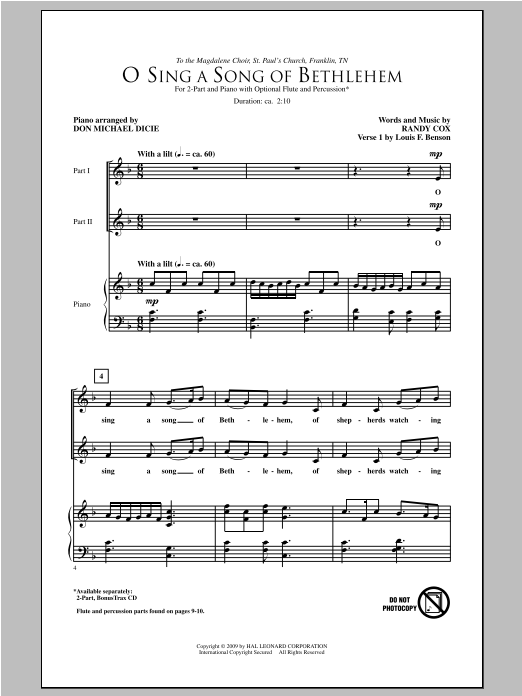 Randy Cox O Sing A Song Of Bethlehem sheet music notes and chords. Download Printable PDF.