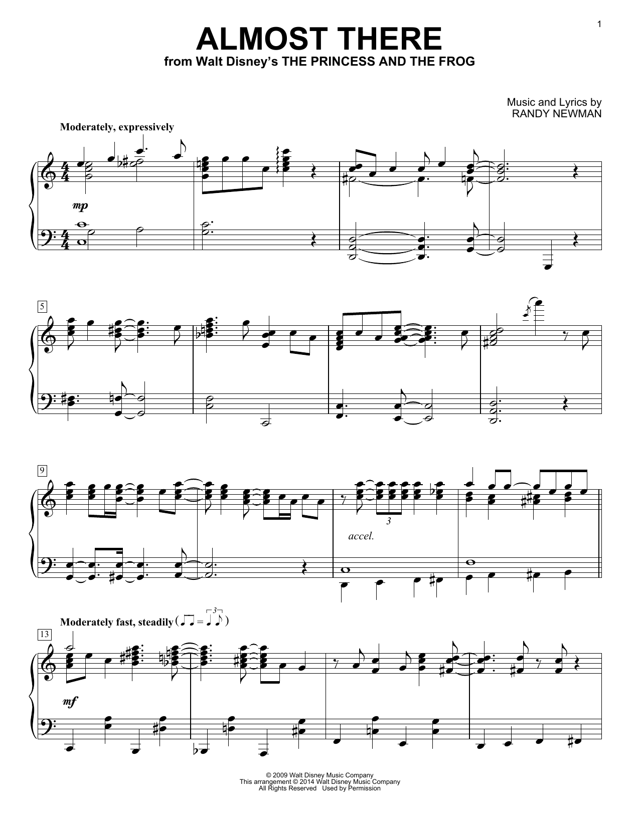 Randy Newman Almost There (from The Princess and the Frog) sheet music notes and chords. Download Printable PDF.