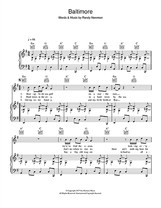 Randy Newman Baltimore sheet music notes and chords. Download Printable PDF.