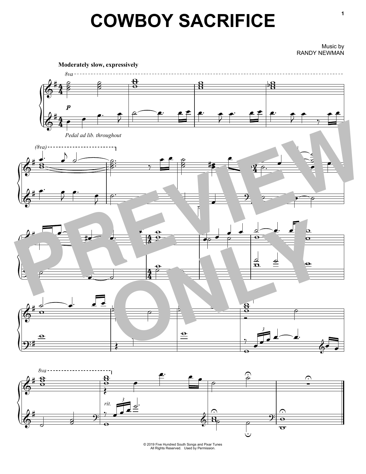 Randy Newman Cowboy Sacrifice (from Toy Story 4) sheet music notes and chords. Download Printable PDF.