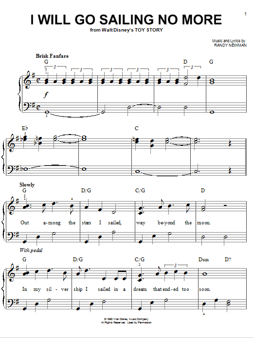 Randy Newman I Will Go Sailing No More (from Toy Story) sheet music notes and chords