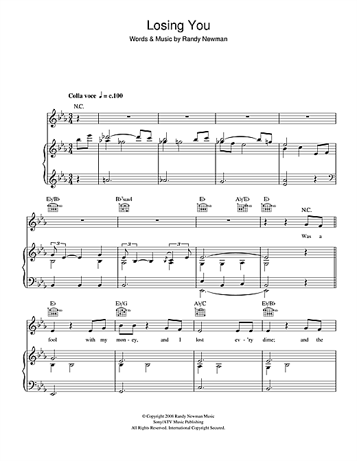 Randy Newman Losing You sheet music notes and chords. Download Printable PDF.