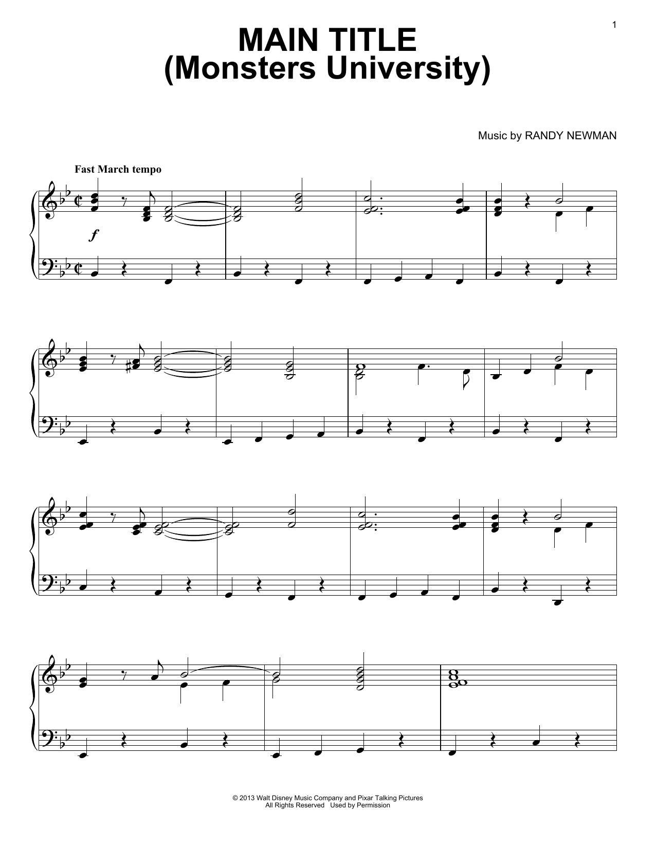 Randy Newman Main Title (Monsters University) sheet music notes and chords. Download Printable PDF.