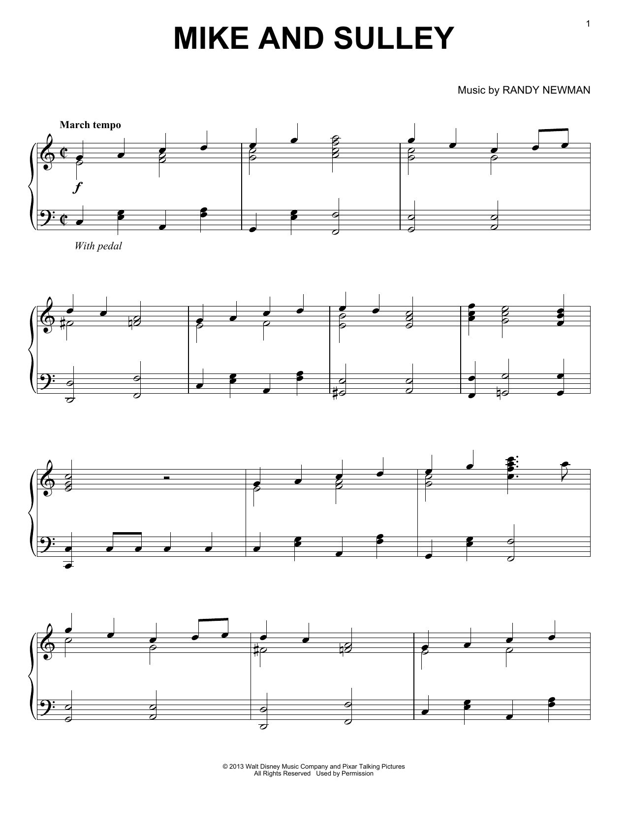 Randy Newman Mike And Sulley sheet music notes and chords