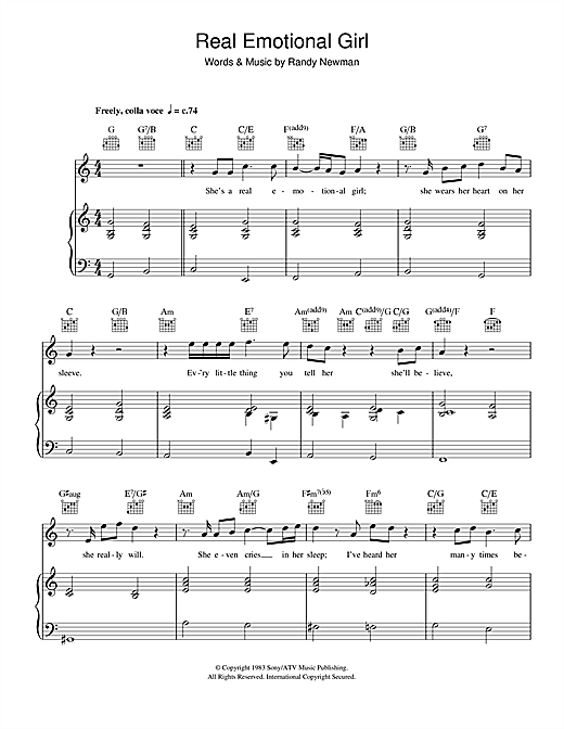 Randy Newman Real Emotional Girl sheet music notes and chords. Download Printable PDF.