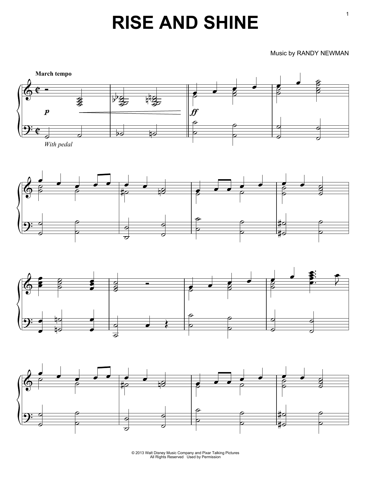 Randy Newman Rise And Shine sheet music notes and chords. Download Printable PDF.