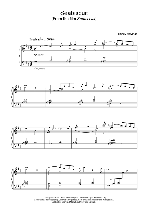 Randy Newman Seabiscuit (from Seabiscuit) sheet music notes and chords
