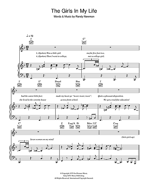 Randy Newman The Girls In My Life sheet music notes and chords. Download Printable PDF.