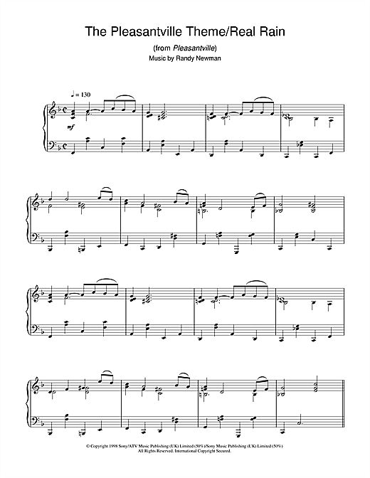 Randy Newman The Pleasantville Theme/Real Rain (from Pleasantville) sheet music notes and chords. Download Printable PDF.