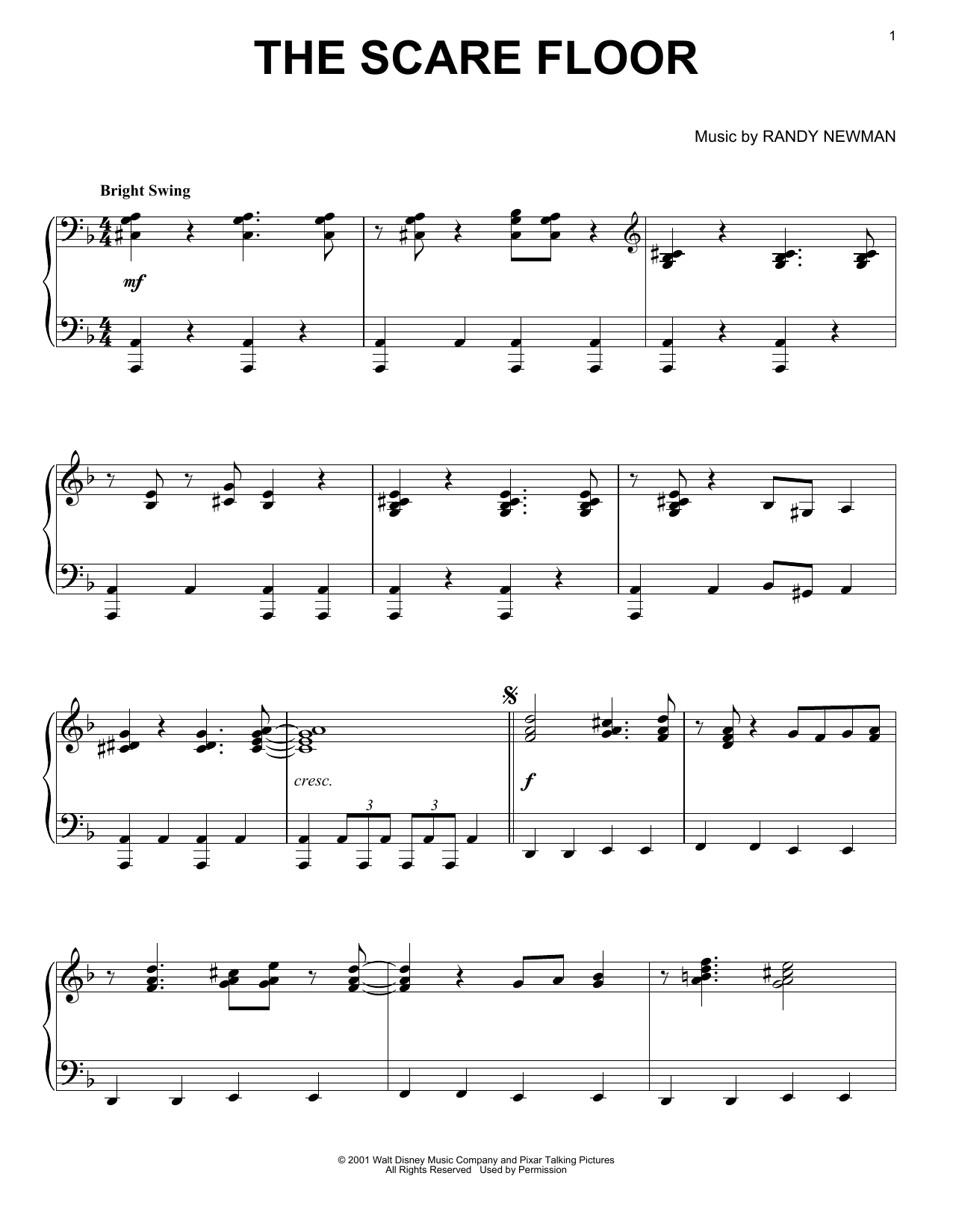 Randy Newman The Scare Floor sheet music notes and chords. Download Printable PDF.