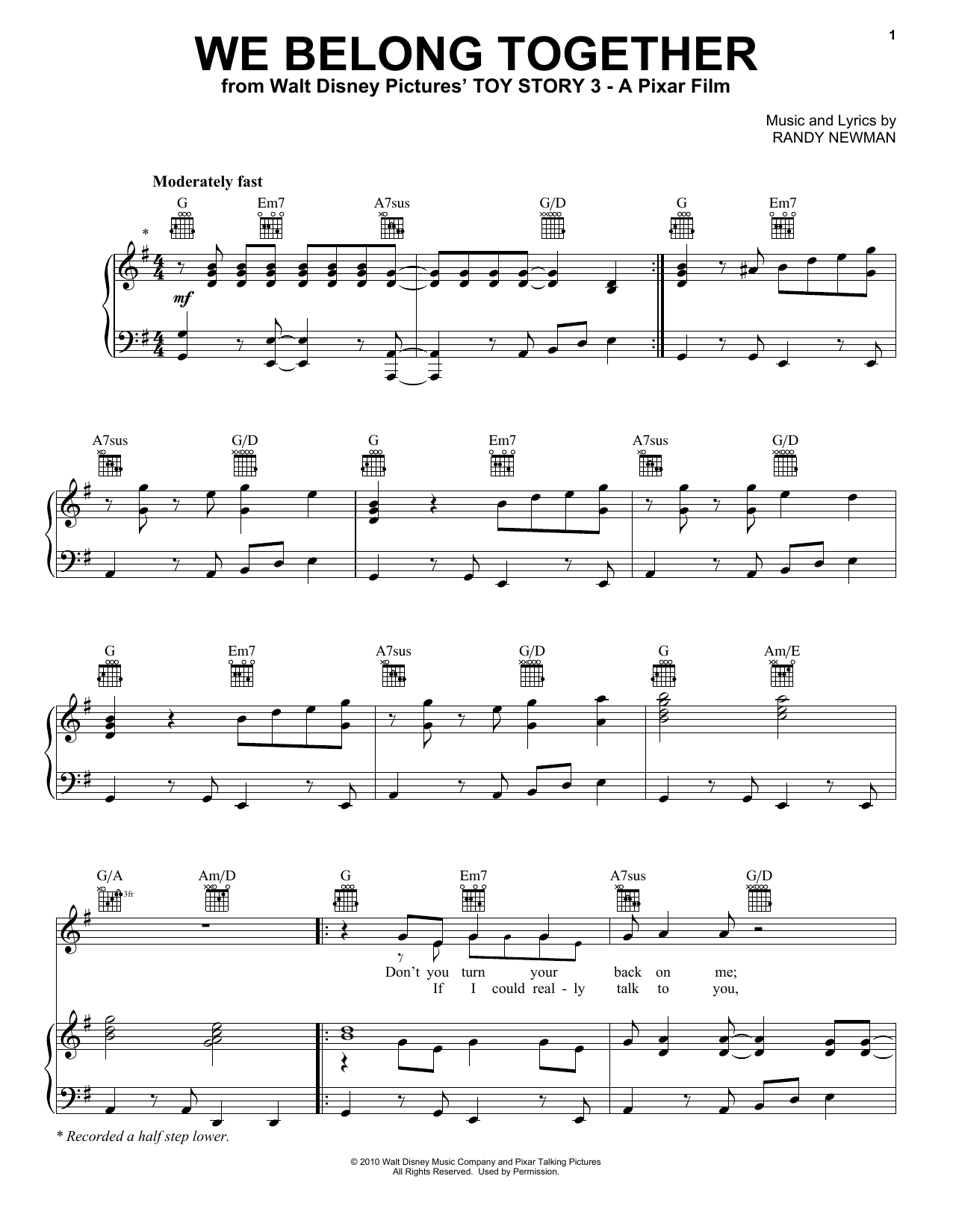 Randy Newman We Belong Together (from Toy Story 3) sheet music notes and chords