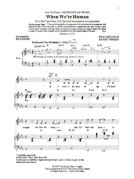 Randy Newman When We're Human (from The Princess And The Frog) (arr. Ed Lojeski) sheet music notes and chords. Download Printable PDF.