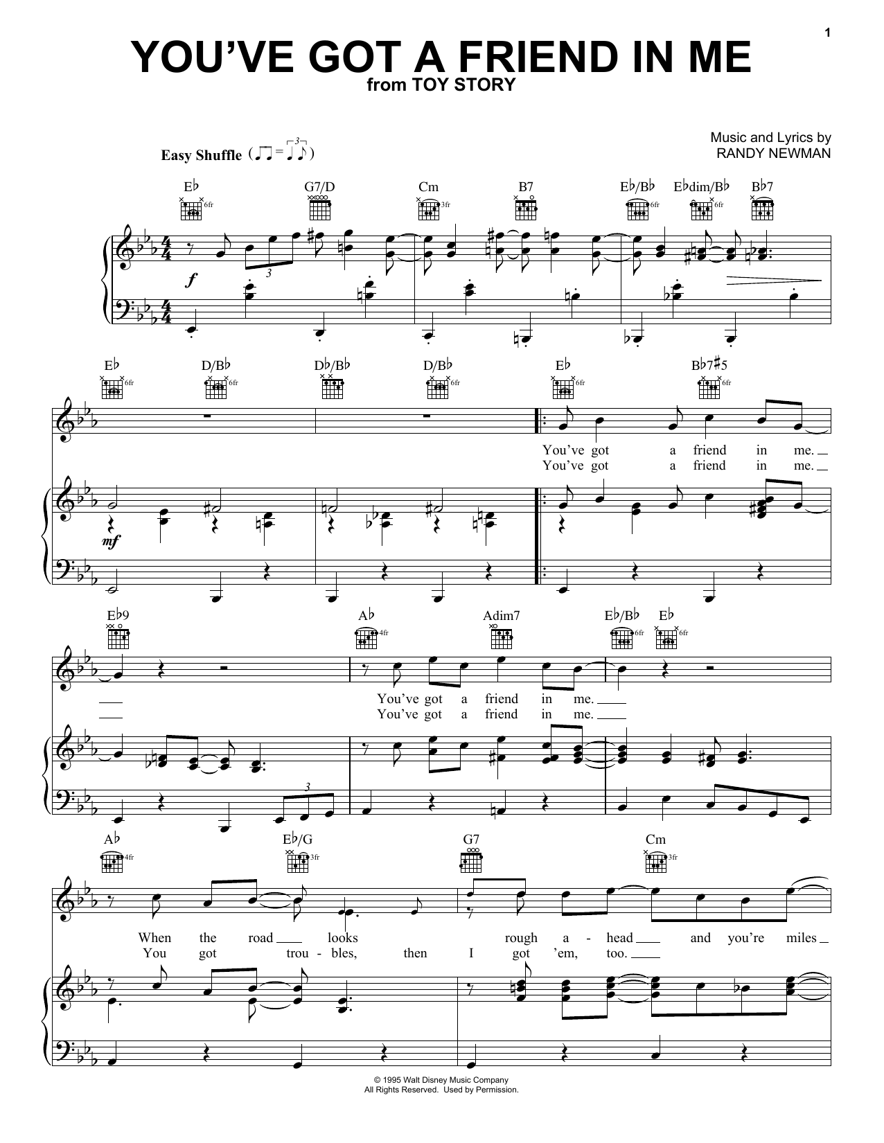 Randy Newman You've Got A Friend In Me (from Toy Story) sheet music notes and chords. Download Printable PDF.