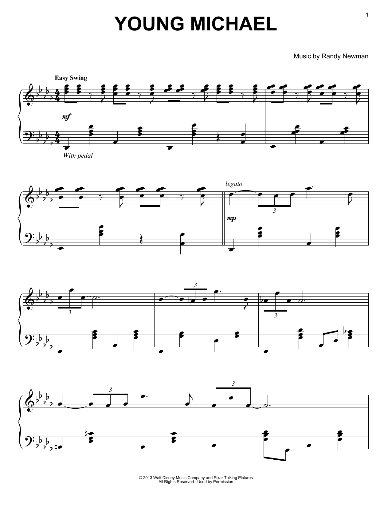 Randy Newman Young Michael sheet music notes and chords. Download Printable PDF.