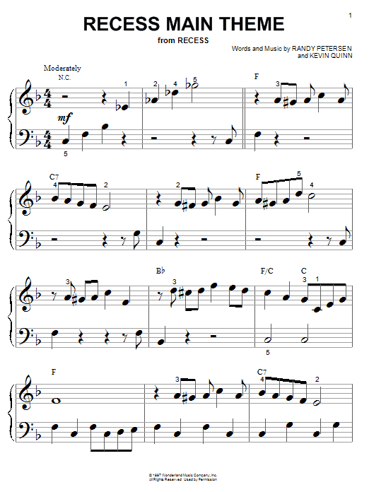 Randy Petersen Recess Main Theme (from the Disney TV Series Recess) sheet music notes and chords. Download Printable PDF.