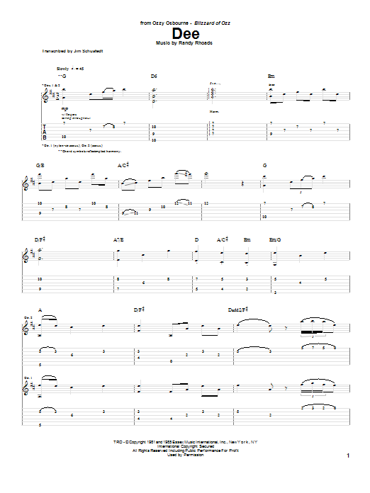 Randy Rhoads Dee sheet music notes and chords. Download Printable PDF.