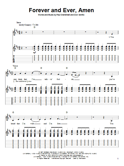 Randy Travis Forever And Ever, Amen sheet music notes and chords. Download Printable PDF.