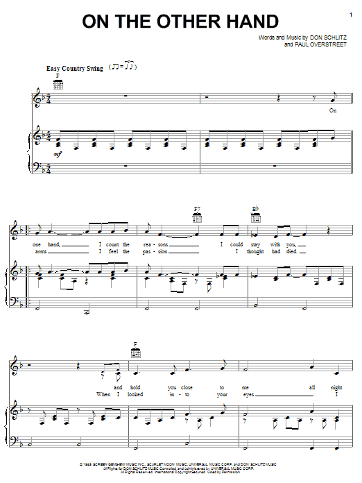 Randy Travis On The Other Hand sheet music notes and chords. Download Printable PDF.