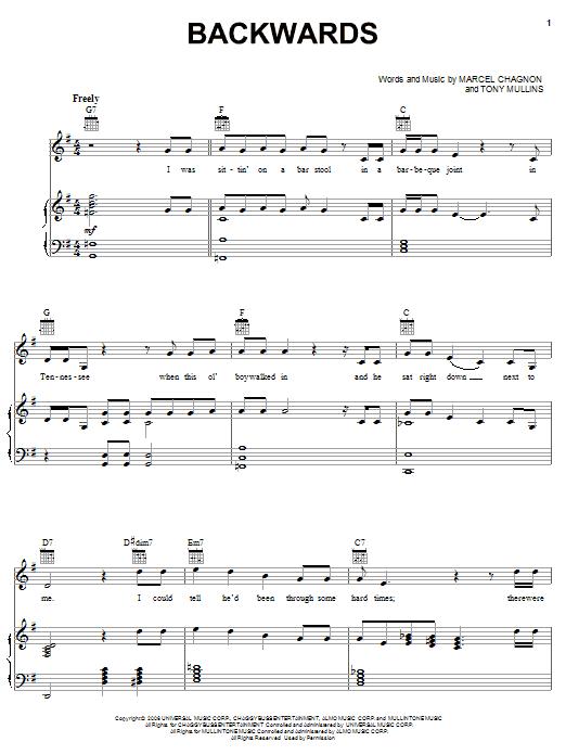 Rascal Flatts Backwards sheet music notes and chords. Download Printable PDF.