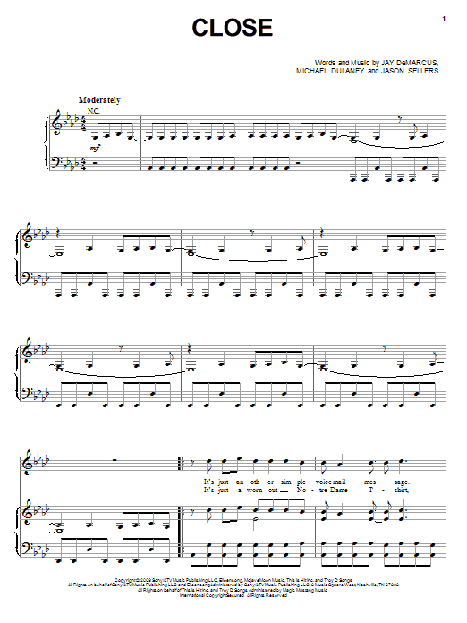 Rascal Flatts Close sheet music notes and chords. Download Printable PDF.