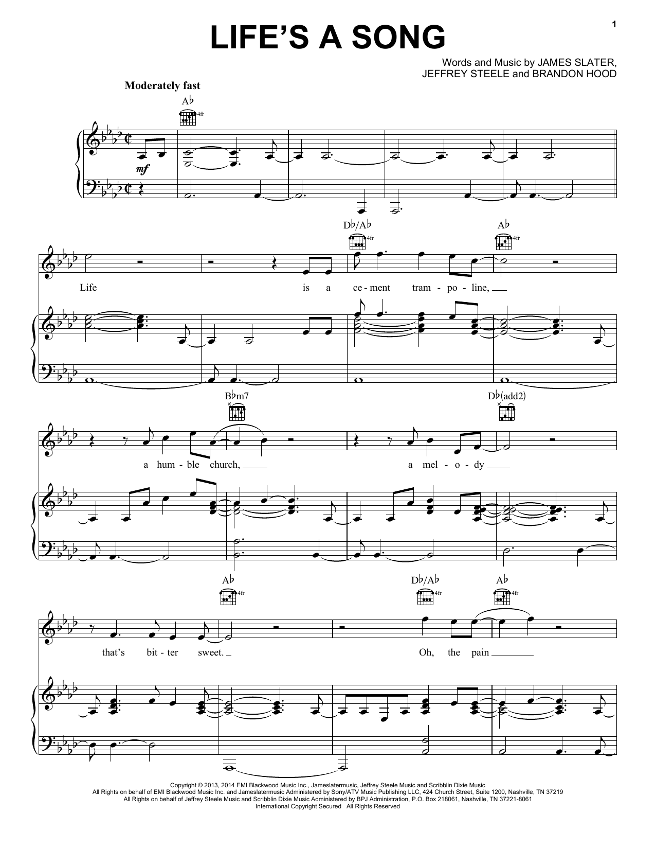 Rascal Flatts Life's A Song sheet music notes and chords. Download Printable PDF.