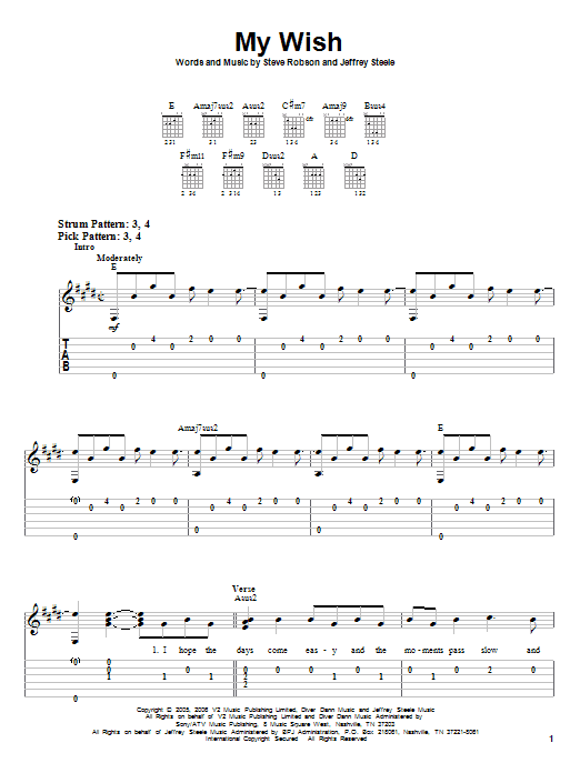 Rascal Flatts My Wish sheet music notes and chords
