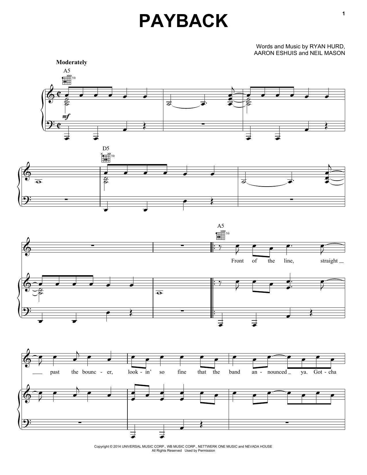 Rascal Flatts Payback sheet music notes and chords. Download Printable PDF.