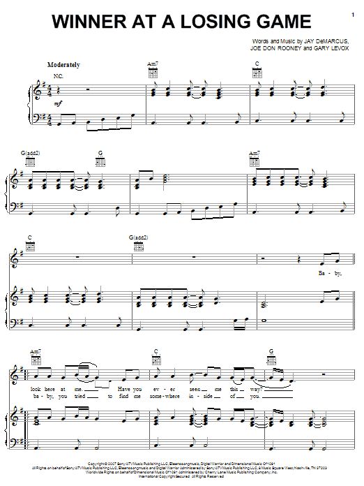 Rascal Flatts Winner At A Losing Game sheet music notes and chords. Download Printable PDF.